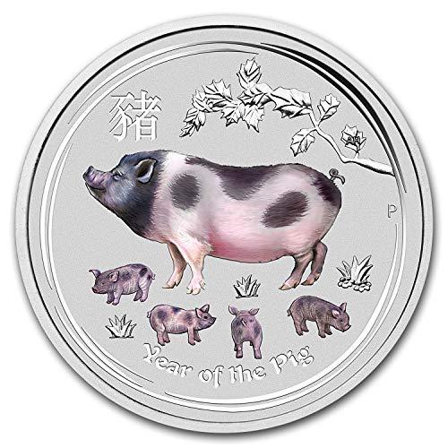 (2019 AU Australia 1 oz Silver Lunar Pig BU (Colorized) 1 OZ Brilliant Uncirculated)