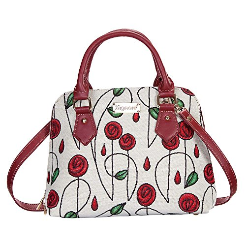 (Charles Rennie Mackintosh Rose Art Nouveau Top-Handle Handbag Purse for women/Carry-On Bag for Women with Removable Strap by Signare/CONV-RMSP)