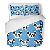 Emvency Bedding Duvet Cover Set Twin (1 Duvet Cover + 1 Pillowcase) Dog French Bulldog Kids Face Drawing Hipster Abstract Animal Artistic Hotel Quality Wrinkle Stain Resistant