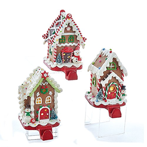 Kurt Adler 1 Set 3 Assorted Battery Operated 6 Inch Snowman, Santa And Gingerbread Man House Clay Dough Stocking Holders by Kurt Adler