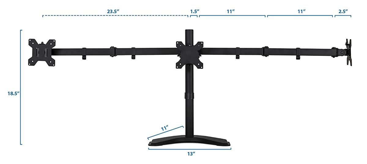 Mount-It! Triple Monitor Stand Freestanding LCD Computer Screen Desk Mount for 19, 20, 22, 23, 24 Inch Monitors VESA 75 and 100 Compatible Full Motion, 66 lbs Capacity, MI-2789 (3 Horizontal Monitor)