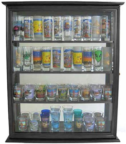 Tall Shooter Shot Glass Display Case Wall Mounted Cabinet, SC10-BLA by DisplayGifts (Image #2)
