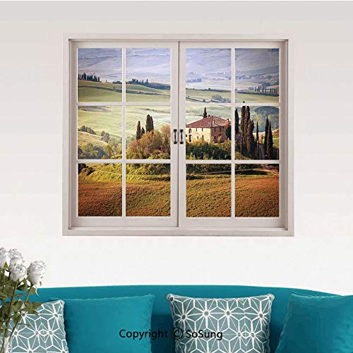 Tuscan Removable Wall Sticker/Wall Mural,Tuscany Seen From Stone Ancient Village of Montepulciano Italy in Cloudy Day Creative Close Window View Wall Decor,24