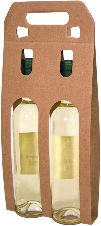 Kartox | Bolsa Estuche Expositor De Cartón | Estuche para 2 Botellas De Vino | Color Kraft | 10 Unidades: Amazon.es: Oficina y papelería