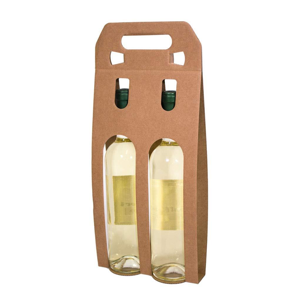 Kartox Lot de 10 bo/îtes de pr/ésentation en carton avec 2 bouteilles de vin Kraft