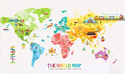 Iceydecal super large the world map wall decal kids educational iceydecal super large the world map wall decal kids educational animalnational flag gumiabroncs Gallery