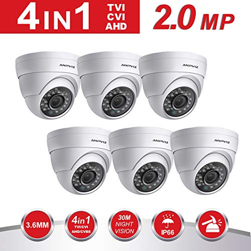 2.0MP Dome Security Camera 6 Pack,Anpvees Hybrid HD 1080P 4 in 1 TVI/CVI/CVBS/AHD Security Cameras, Waterproof Outdoor/Indoor Day & Night Vision 3.6mm Lens Dome Cmera System-White (AC-3122-W-6pack)