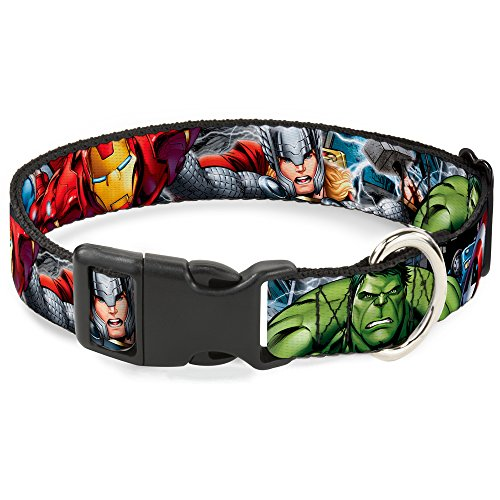 "Buckle Down Plastic Clip Collar - Marvel Avengers 4-Superhero Poses CLOSE-UP - 1"" Wide - Fits 15-26 Neck - Large"