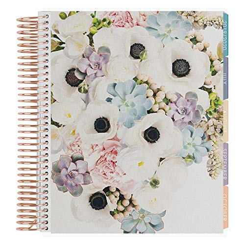 Erin Condren 18-Month 2019-2020 Coiled Life Planner 7x9 (July 2019-December 2020) - in Bloom Rose Gold Metallic, Hourly (Colorful Layout) (4 Page Layout)