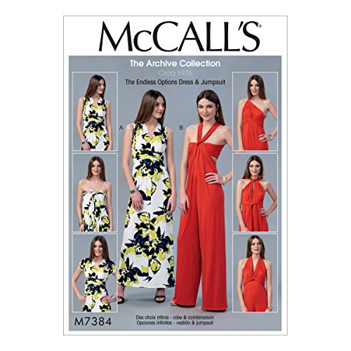 M7384 Misses' Endless Tie Options Knit Dress and Jumpsuit (SIZE 12-18) SEWING (Circa Vintage Suit)