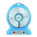 Desk Fan, COO Mini USB Rechargeable Portable Fan(Blue)