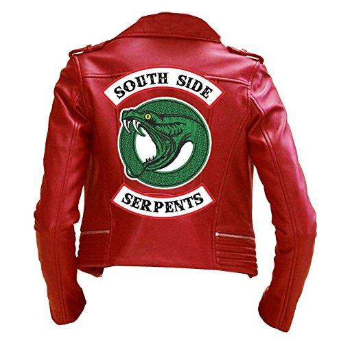 Riverdale Southside Serpents Cheryl Blossom Womens Biker Red Leather Jacket | red Southside Serpents Jacket by LeathersWear