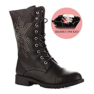 RF ROOM OF FASHION Trudy-21 Boots (Studs/Black PU Size 10)