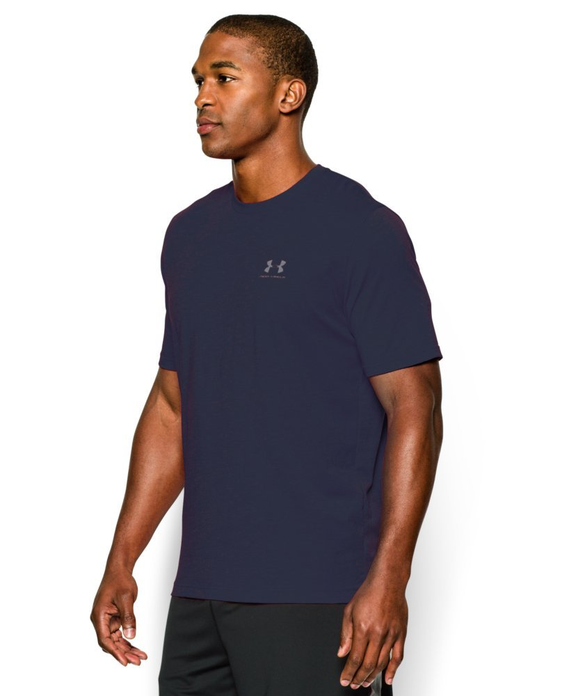 Under Armour Men's Charged Cotton Left Chest Lockup T-Shirt, Midnight Navy /Steel, XXX-Large by Under Armour (Image #3)