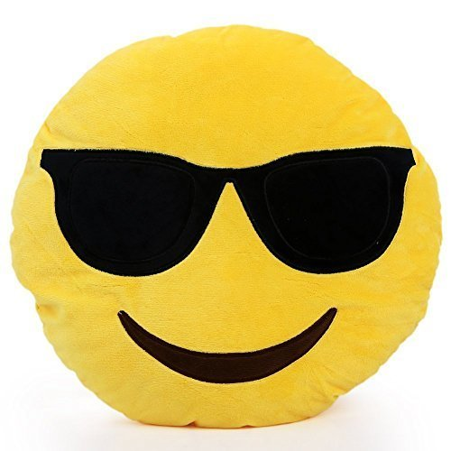 Emoji Sunglasses Yellow Round Pillow