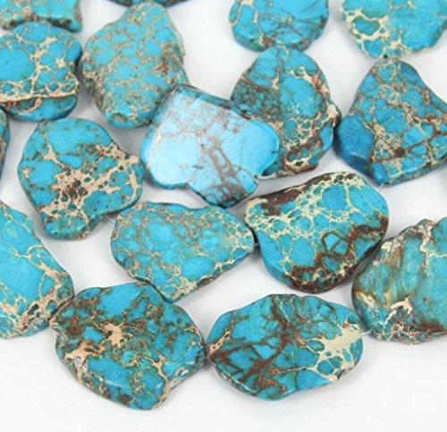 5pcs x Natural Turquoise Blue Sea Sediment Jasper Smooth Free Form Gemstone Nugget Loose Beads ~20-45mm (Moonstone Nugget)