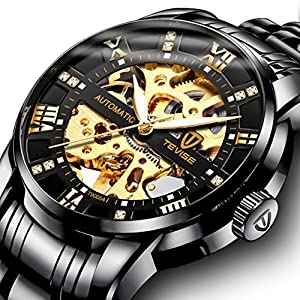 Watch,Mens Watch,Luxury Classic Skeleton Mechanical Large Face Gold Skull Stainless Steel Watch with Link Bracelet,Dress Waterproof Watch for Men 28