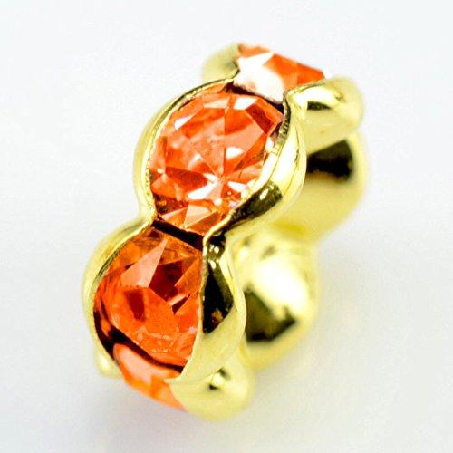 (RUBYCA 100pcs Wavy Rondelle Spacer Bead Gold Tone 5mm Sun Orange Czech Crystal)