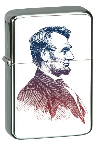 Vector-KGM-Thunderbird-Custom-Lighter-16th-US-President-Abraham-Abe-Lincoln-High-Polish-Chrome-Finish
