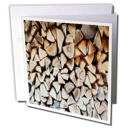 3dRose TDSwhite – Miscellaneous Photography - Rustic Firewood Cut Stacked Side View - 6 Greeting Cards with Envelopes (gc_285317_1)