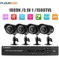 FLOUREON House Camera 4CH DVR Home Security System 1080N AHD DVR + 4 X Outdoor 1500TVL 720P Bullet Security Servalance Cameras Night Version (4CH+1500TVL)