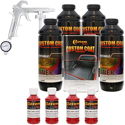Custom Coat HOT ROD RED 4 Liter Urethane Spray-On Truck Bed Liner Kit with (FREE) Custom Coat Spray Gun with Regulator