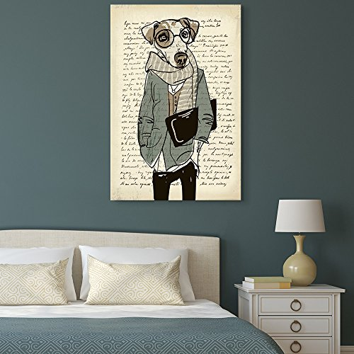 Creative Animal Figure on Vintage Paper Mr Dog Wearing Glasses