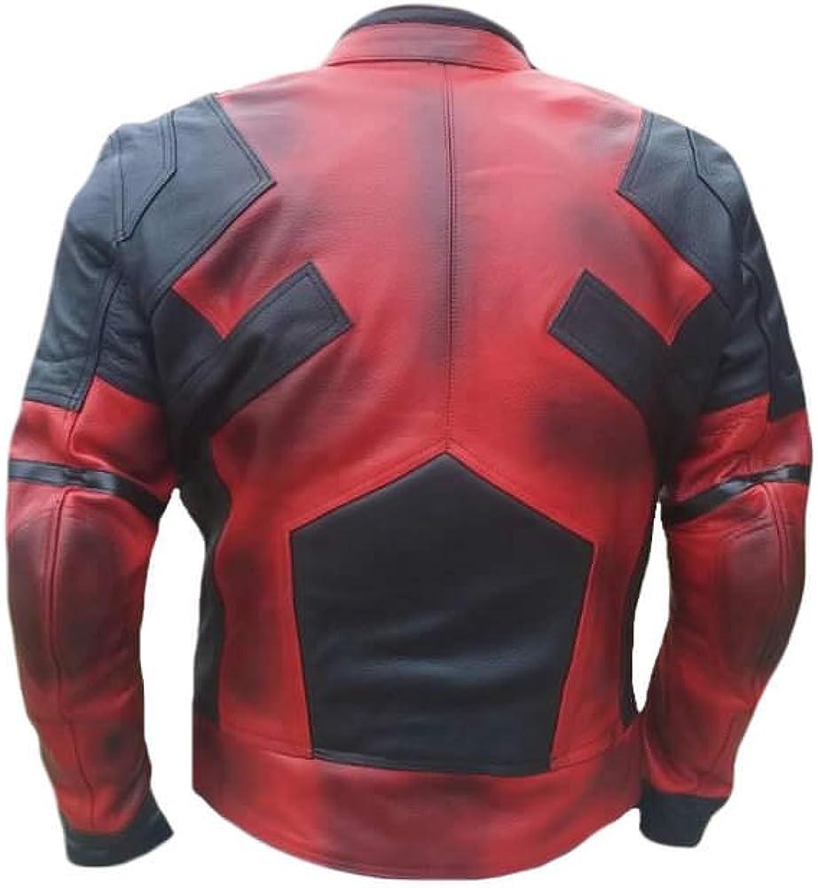 SRHides Mens Motorcycle Deadpool Real Leather Jacket