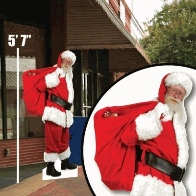 - VictoryStore Yard Sign Outdoor Lawn Decorations - Life Size Santa Cutout - Sidewalk and Lawn Display - 5' 7