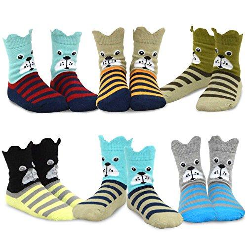 TeeHee Kids Boys Fashion Fun Cotton Crew Socks 6 Pair Pack (3-5 Years, Dog's Face)