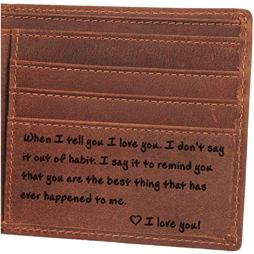 (Engraved Wallet For Men-I Love You, Anniversary Gifts for Men, Husband Gifts, Boyfriend Gifts, Men Personalized Gifts)