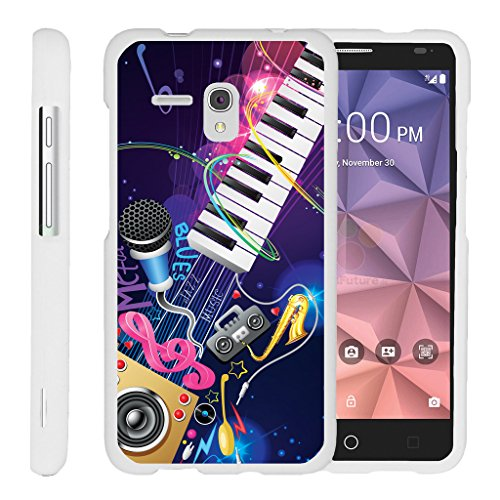 Design Duo Band (TurtleArmor | Alcatel One Touch Fierce XL Case | Alcatel Flint Case [Slim Duo] Slim Fitted Compact Hard Protector Snap On Matte Case Music Design on White - Music Band)