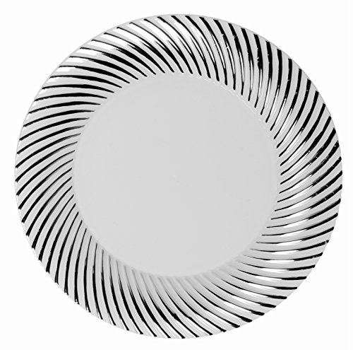 Party Joy 'I Can't Believe It's Plastic' 50-Piece Plastic Salad Plate Set | Swirl Collection | Heavy Duty Premium Plastic Plates for Wedding, Parties, Camping & More (Silver Swirl) - Swirl Salad Plate Set