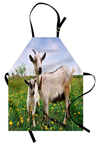 Lunarable Goat Apron, Mama Goat and Her Kid in the Pastures Summer Time Blossoming Flowers Farming Animals, Unisex Kitchen Bib Apron with Adjustable Neck for Cooking Baking Gardening, Multicolor by Lunarable
