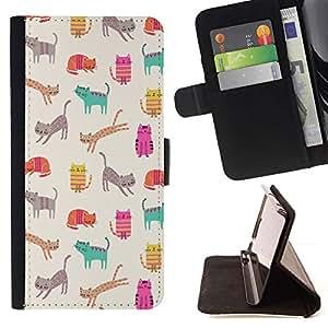 For Samsung Galaxy A5 ( A5000 ) 2014 Version Case , Gatitos Gatos trullo Historieta rosada del Patrón- la tarjeta de Crédito Slots PU Funda de cuero Monedero caso cubierta de piel