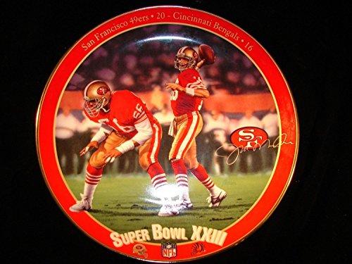 Joe Montana Super Bowl XXIII Collectors Plate San Francisco 49ers & Cincinnati Bentals Football Bradford Exchange Limited Edition Collectors ()