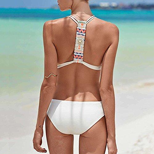 DELEY Mujeres Una Pieza Retro Sin Respaldo Elegante Bikini Traje De Baño Monokini Ropa De Playa Blanco