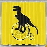 Funny Dinosaur Bicycle Shower Curtain Fabric Bathroom Shower Curtain Set,72x60 Inch