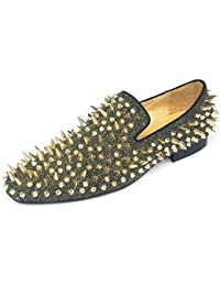 a51184e3595 Men s Leather Loafers Spikes Slippers Dress Shoes Slip-on Flats Long Rivet  Party Shoes Black
