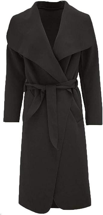Women Ladies Italian Long Duster Trench Belted Waterfall Coat Jacket New UK 8-14