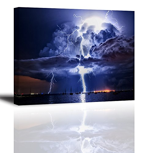 Lightning Wall Art for Bedroom, PIY Nature Canvas Painting Prints Decor of Fulmination Strikes on Ocean Port Through Storm Clouds at Night (1