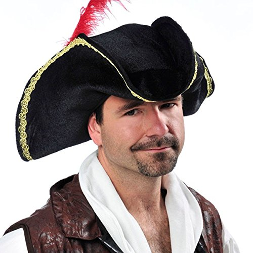 Notorious Pirate Party Buccaneer Hat Accessory, Black, Fabric (Colonial Pirate Costume)
