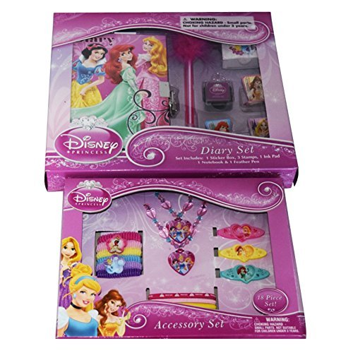 [BEST SELLING 25 Piece High Quality Disney Princess Fashion & Journal Bundle: 2 Items- Diary 7 Piece Set & 18 Piece Accessory] (Tinker Bell Child Tiara)