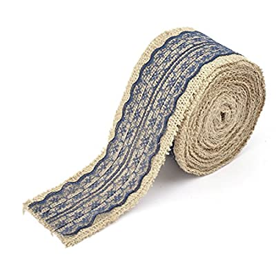 uxcell Burlap Celebration Festival DIY Handcraft Gift Wrapping Ribbon Roll 5.5 Yards