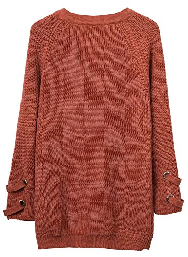 Futurino Women's Lace Up V-Neck Long Sleeve Knit Pullover Sweater Dress Top Photo #9