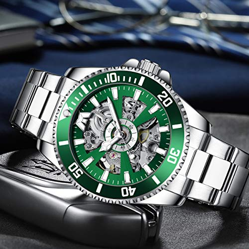 MEGALITH Mens Watches Designer Automatic Mechanical Skeleton Stainless Steel Wrist Watch Large Face Analogue Watches for Men Waterproof Luminous Gents Watches