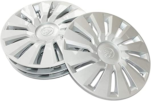 Skoda 657071456 Radzierblenden 4 Stück Radkappen Tecton 16 Zoll Radblenden Für 6jx16 Et40 Stahlfelgen Silber Auto