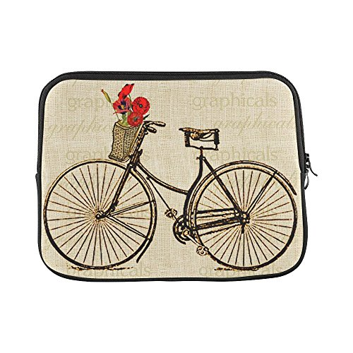 WECE Vintage Bicycle Bike with Flowers Theme Soft Water-proof Neoprene Carrying Case Sleeve Bag For Macbook, Macbook Air/Pro 13 Inch All 13
