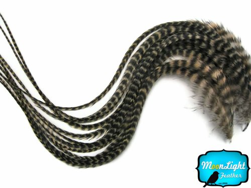 10 Grizzly Range (Moonlight Feather, Hair Extension Feathers - Tan Thick Long Grizzly Rooster Hair Extension Feathers - 7-11 Inches Long - 6 Pieces Per Pack)