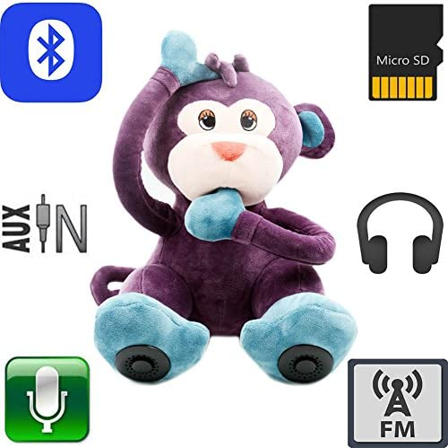 QTMY Monkey Plush Wireless Bluetooth Speaker Kids Toy Gift Micro TF Card Stereo Speaker FM Radio Purple